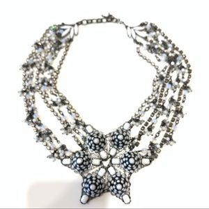 Beaded Silver Colour Short Statement Necklace